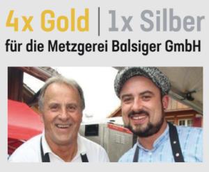 4x Gold und 1x Silber für die Metzgerei Balsiger in Wattenwil